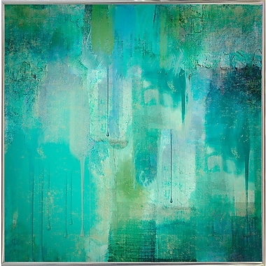 Varick Gallery 'Aqua Circumstance' Painting Print; Metal Silver Framed