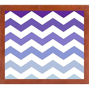 Varick Gallery 'Purple-Blue Chevron' Graphic Art Print; Canadian Walnut Medium Framed