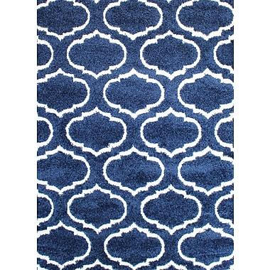 Varick Gallery Quaoar Shaggy Trellis Navy Blue Area Rug; Rectangle 8' x 10'