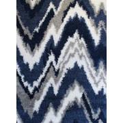 Varick Gallery Quarterman Shaggy Zig-Zag Gray/Navy Blue Area Rug; Rectangle 4' x 6'