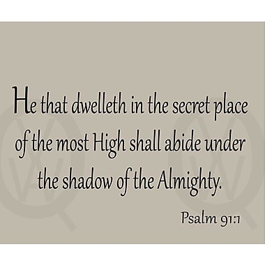 VWAQ He That Dwelleth in the Secret Place of the Most High Bible Wall Decal