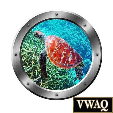 VWAQ Underwater Scene Sea Turtle Porthole Window Peel and Stick Removable Wall Decal