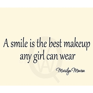 VWAQ A Smile is the Best Makeup a Girl Can Wear Marilyn Monroe Quote Wall Decal