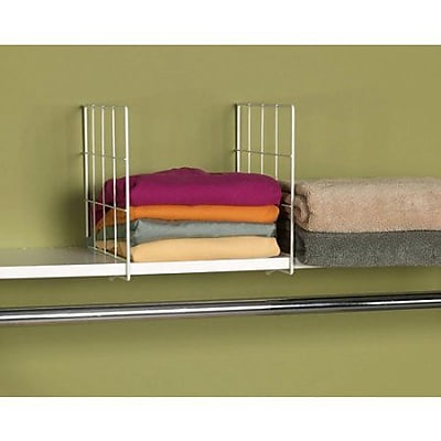 Household Essentials® Wire Shelf Dividers, White, 2/Set