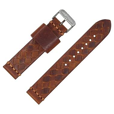 Dakota 20mm Brown Handmade, Italian Leather, Braided Strap (18338)