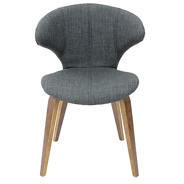 Cathay Importers Linen Side Chair with Walnut Veneer Legs, Charcoal Black, 2/Set (EC-01-1918-BLK)
