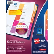 Avery® Ready Index® Table of Content Dividers for Laser and Inkjet Printers, 5 Tabs, 6 sets, Multi-colour, (11187)