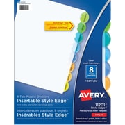 Avery® Style Edge Plastic Insertable Dividers for Laser and Inkjet Printers, 8 Tabs, Multi-colour, (11201)