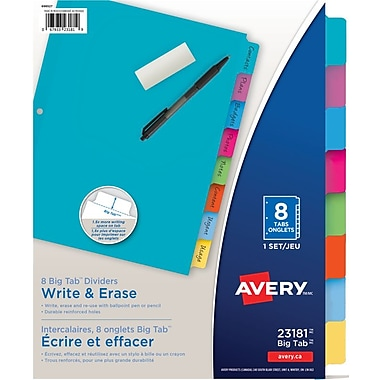 Avery® Write & Erase Big Tab™ Dividers, 8 Tabs, Multi-colour (23181)