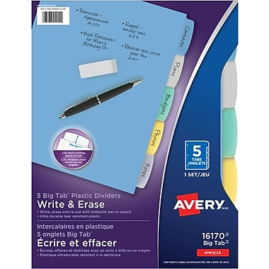 Avery® Write & Erase Durable Plastic Write-On Dividers, 5 Tabs, Multi-colour (16170)