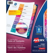Avery® Ready Index® Table of Content Dividers for Laser and Inkjet Printers, 8 Tabs, 6 sets, Multi-colour, (11189)