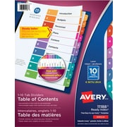 Avery® Ready Index® Table of Content Dividers for Laser and Inkjet Printers, 10 Tabs, 6 sets, Multi-colour, (11188)