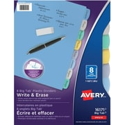 Avery® Write & Erase Durable Plastic Write-On Dividers, 8 Tabs, Multi-colour (16171)