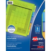 """Avery® Big Tab™ Insertable Plastic Dividers for Laser and Inkjet Printers, 9-1/4"""" x 11-1/8"""", 5 Tabs, Multi-colour, (11900)"""