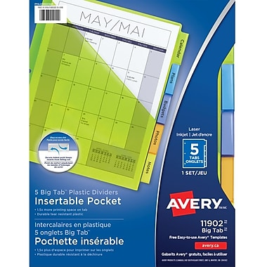 Avery® Big Tab™ Pocket Insertable Plastic Dividers for Laser/Inkjet Printers, 9-1/4