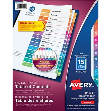Avery® Ready Index® Table of Content Dividers for Laser and Inkjet Printers, 15 Tabs, Multi-colour, (11143)