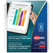 Avery® Index Maker® Print and Apply Clear Label Sheet Protector Dividers, 5 Tabs, Clear (78613)
