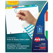 Avery® Index Maker® Print and Apply Clear Label Dividers, 5 Tabs, 5 Sets, Multi-colour (11418)