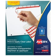 Avery® Index Maker® Print and Apply Clear Label Dividers, 8 Tabs, 5 Sets, White (11437)