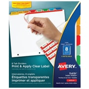 Avery® Index Maker®Print and Apply Clear Label Dividers, 8 Tabs, 5 Sets, Multi-colour (11419)