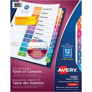 Avery® Ready Index® Table of Content Dividers for Laser and Inkjet Printers, 12 Tabs, 6 sets, Multi-colour, (11196)