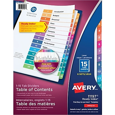 Avery® Ready Index® Table of Content Dividers for Laser and Inkjet Printers, 15 Tabs, 6 sets, Multi-colour, (11197)
