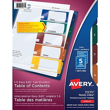 Avery® Ready Index® Easy Edit Table of Content Dividers for Laser and Inkjet Printers, 5 Tabs, Multi-colour, (11171)