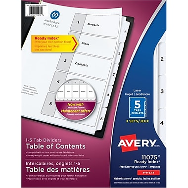 Avery® Ready Index® Table of Content Dividers for Laser and Inkjet Printers, 5 Tabs, 3 sets, Black & White, (11075)