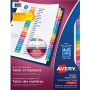 Avery® Ready Index® Table of Content Dividers for Laser and Inkjet Printers, A-Z, Multi-colour, (11125)