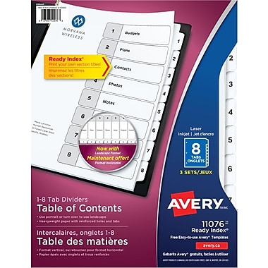 Avery® Ready Index® Table of Content Dividers for Laser and Inkjet Printers, 8 Tabs, 3 sets, Black & White, (11076)