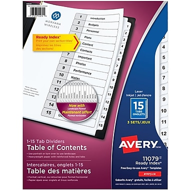 Avery® Ready Index® Table of Content Dividers for Laser and Inkjet Printers, 15 Tabs, 3 sets, Black & White, (11079)