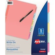 Avery® Plain Tab Write On Dividers, 5 Tabs, 3 sets, Multi-colour (11508)