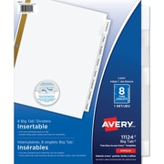 Avery® Big Tab™ Extra Wide Insertable Dividers for Laser and Inkjet Printers, 8 Tabs, Clear (11124)