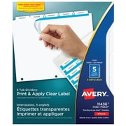 Avery® Index Maker® Clear Label Dividers with Easy Apply™ Labels for Laser/Inkjet Printers, 5 Tabs, 5 Sets, White (11436)