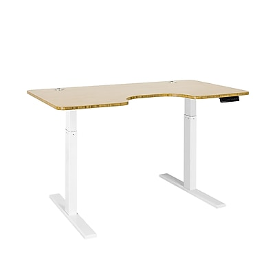 Autonomous SmartDesk - Height-Adjustable Standing Desk - Single Motor - White Frame - Bamboo Ergonomic Top