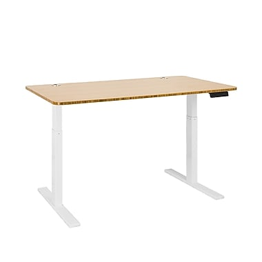 Autonomous SmartDesk - Height-Adjustable Standing Desk - Single Motor - White Frame - Bamboo Classic Top