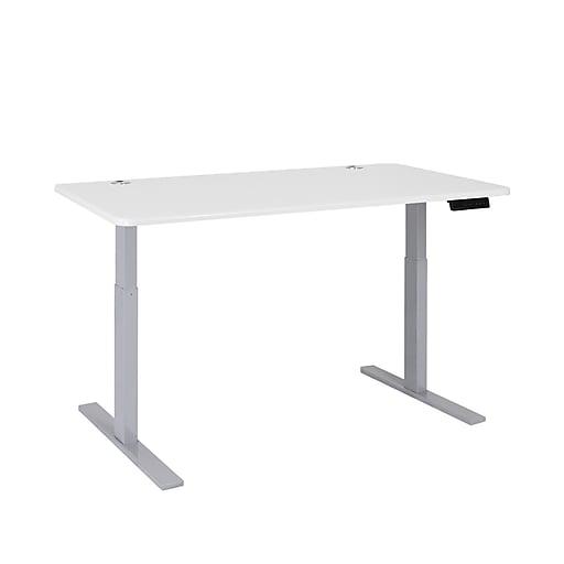 Autonomous SmartDesk Height Adjustable Standing Desk Gray Frame, White Classic Top (A56-A12)