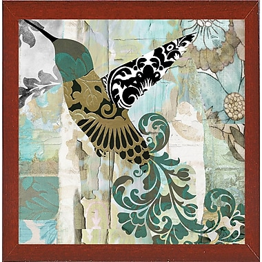 Winston Porter 'Hummingbird Batik II' Graphic Art Print; Red Mahogany Medium Framed