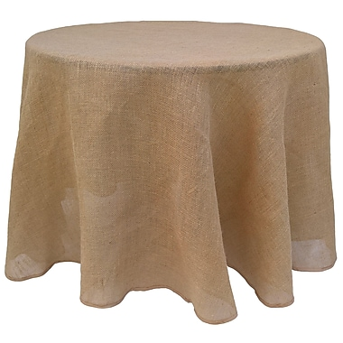 August Grove Flanery Round Burlap Tablecloth; 90'' H x 90'' W