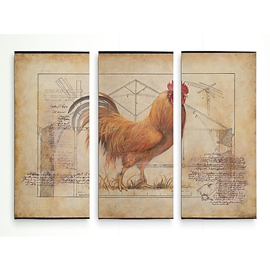 August Grove 'Rustic Fowl I' Graphic Art Print Multi-Piece Image on Wrapped Canvas; 32'' H x 48'' W