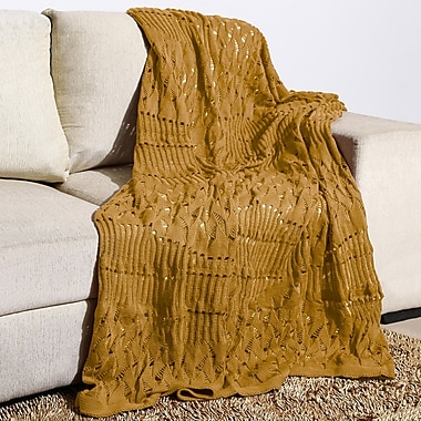 Alcott Hill Millerton Moss Knit Cotton Throw; Camel