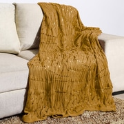 Alcott Hill Woodbrige Knitted Fishnet Cotton Throw; Camel