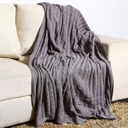Alcott Hill Montegue Combed Cotton Throw; Grey