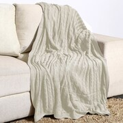 Alcott Hill Montegue Combed Cotton Throw; Ivory