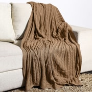 Alcott Hill Montegue Combed Cotton Throw; Taupe