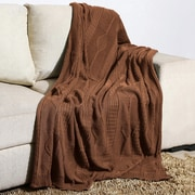 Alcott Hill Winterstown Combed Cotton Throw; Brownie