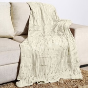 Alcott Hill Woodbrige Knitted Fishnet Cotton Throw; Ivory