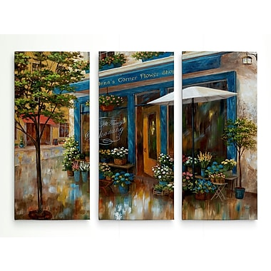 Alcott Hill 'Anna's' Corner Flower Shop' Acrylic Painting Print Multi-Piece Image on Wrapped Canvas