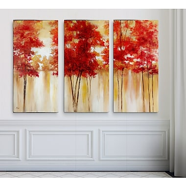 Alcott Hill 'Red Trees' Acrylic Painting Print Multi-Piece Image on Wrapped Canvas; 24'' H x 36'' W