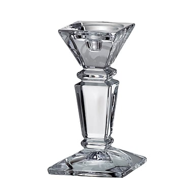 Red Vanilla Empery Glass Candlestick; 8'' H x 4.5'' W x 4.5'' D